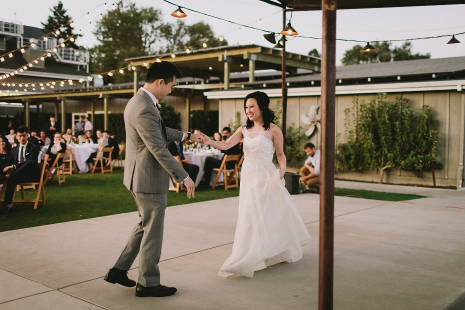 Cute outdoor reception at Farmstead at Long Meadow Ranch