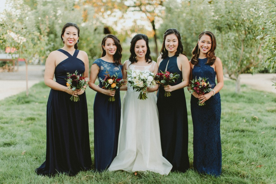 Navy mismatched bridesmaid dresses
