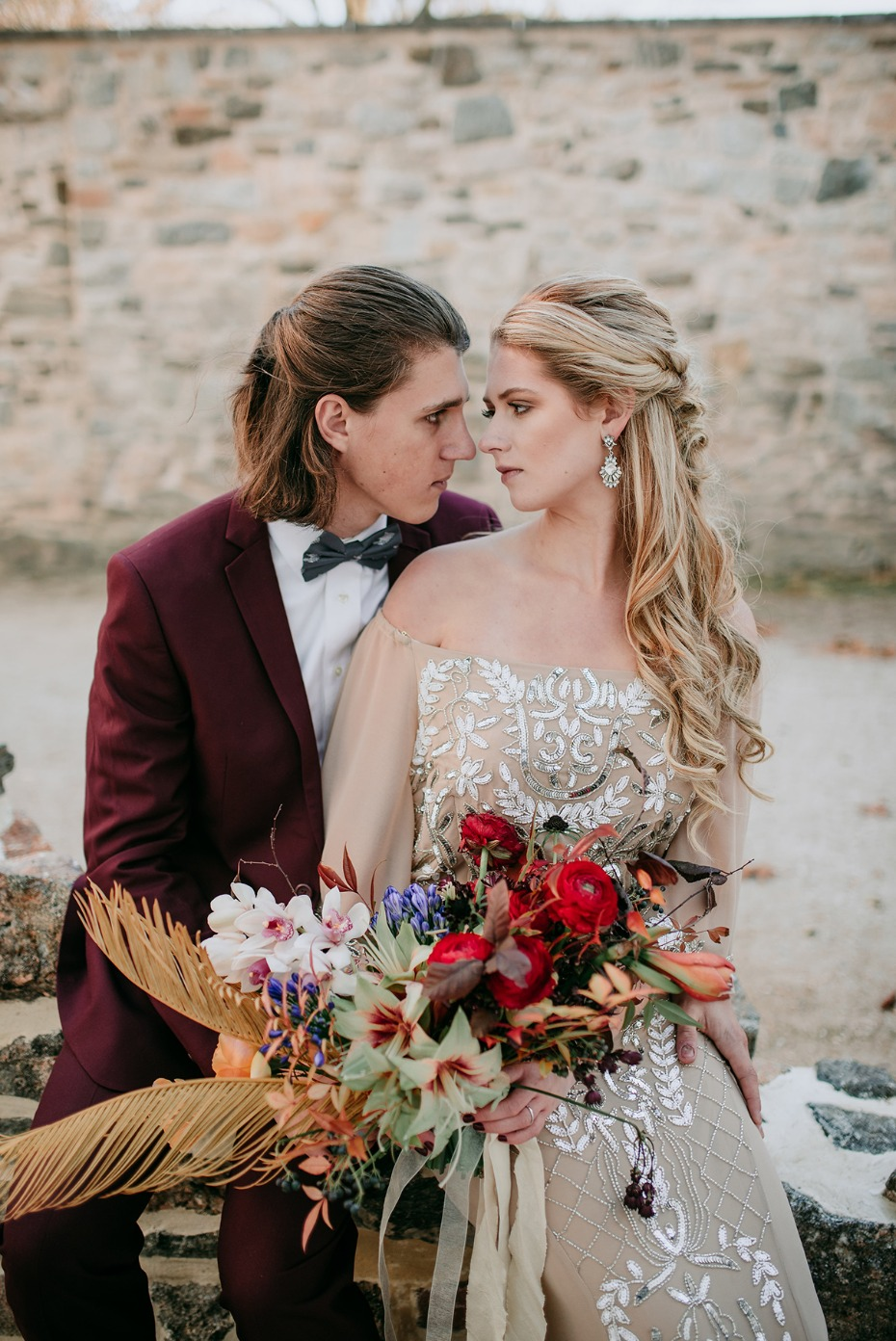 bride and groom in late fall wedding style