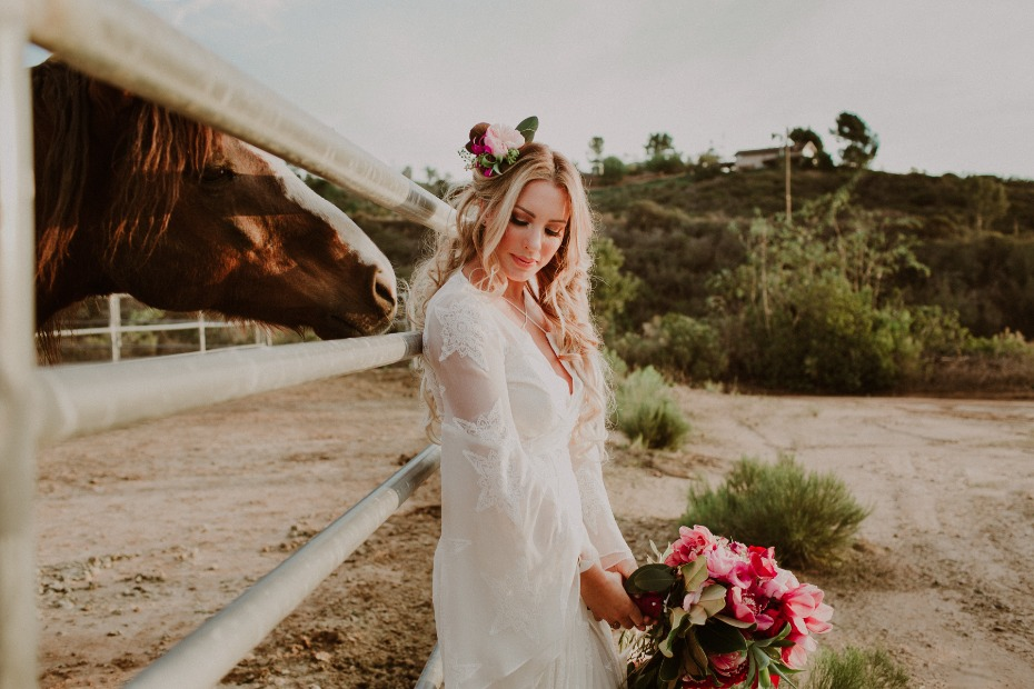 A bride and a horse