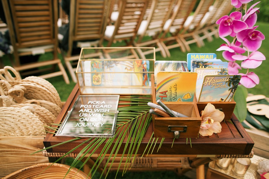 vintage Hawaii postcards guestbook idea