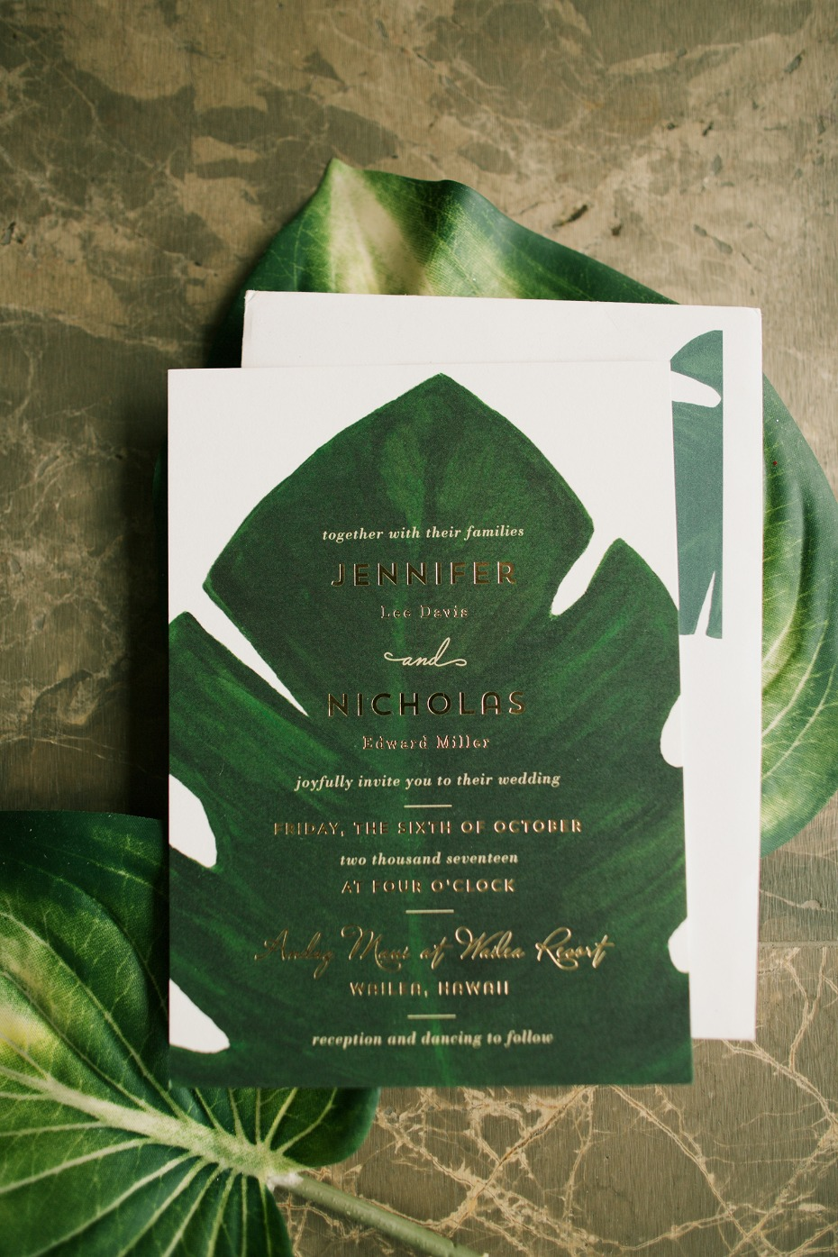 tropical leaf themed wedding invitation
