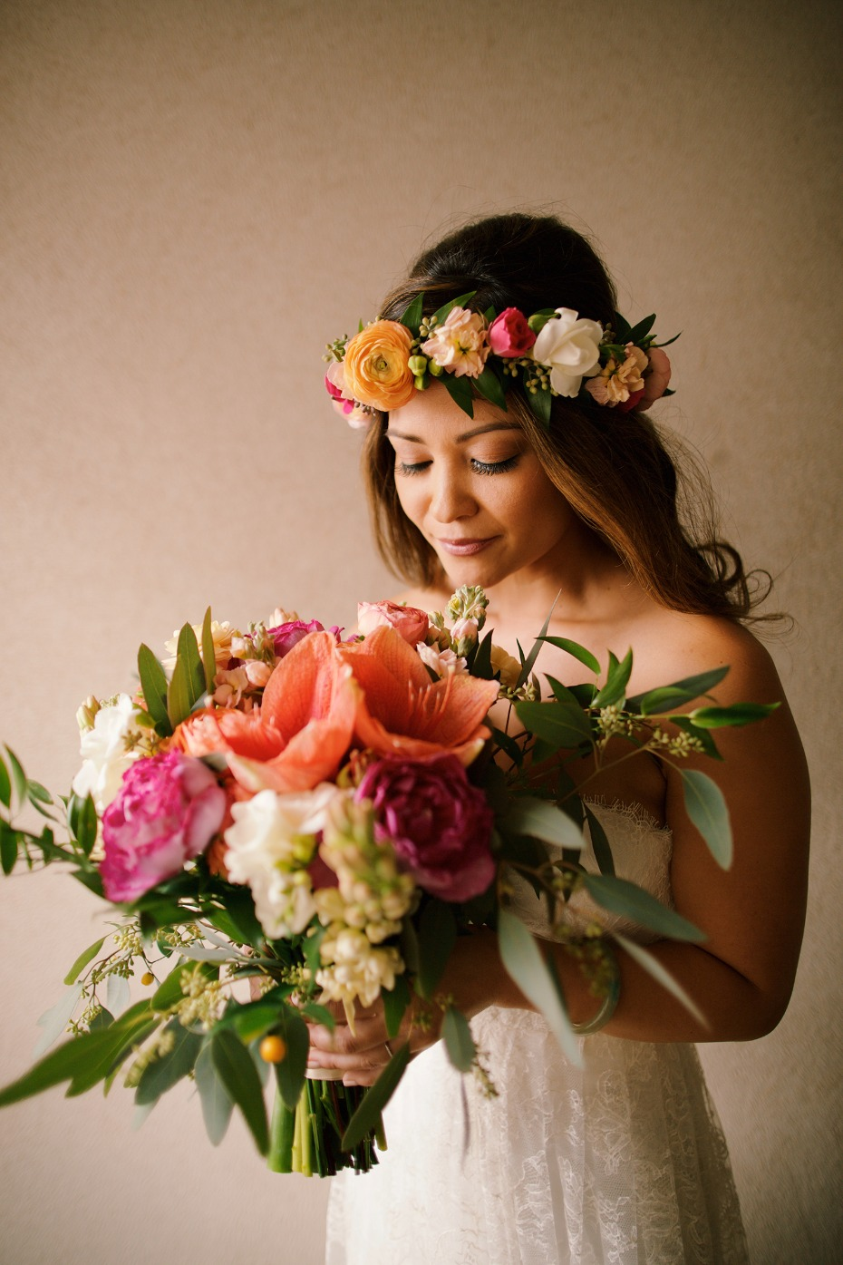 tropical Hawaiian bridal style