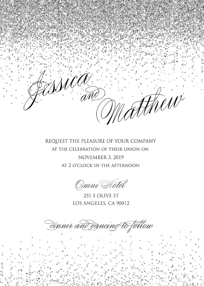Print: Free Printable Sparkling Silver Wedding Invitation