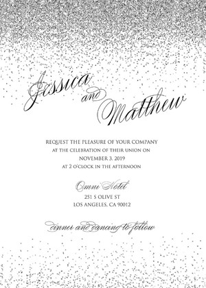 free printable sparkling silver wedding invitation