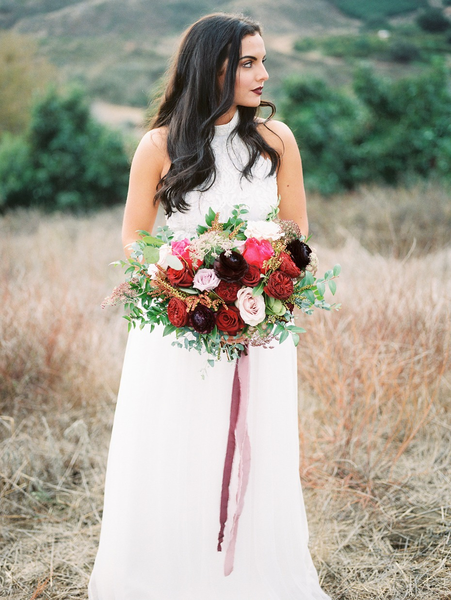 Dramatic red and blush bouquet
