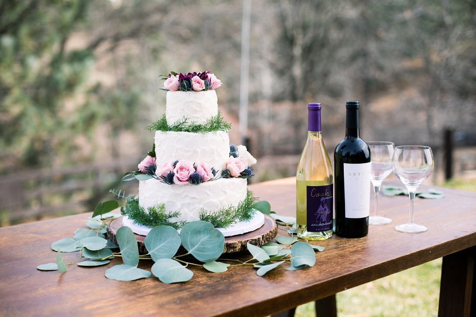 wedding cake topped in florals