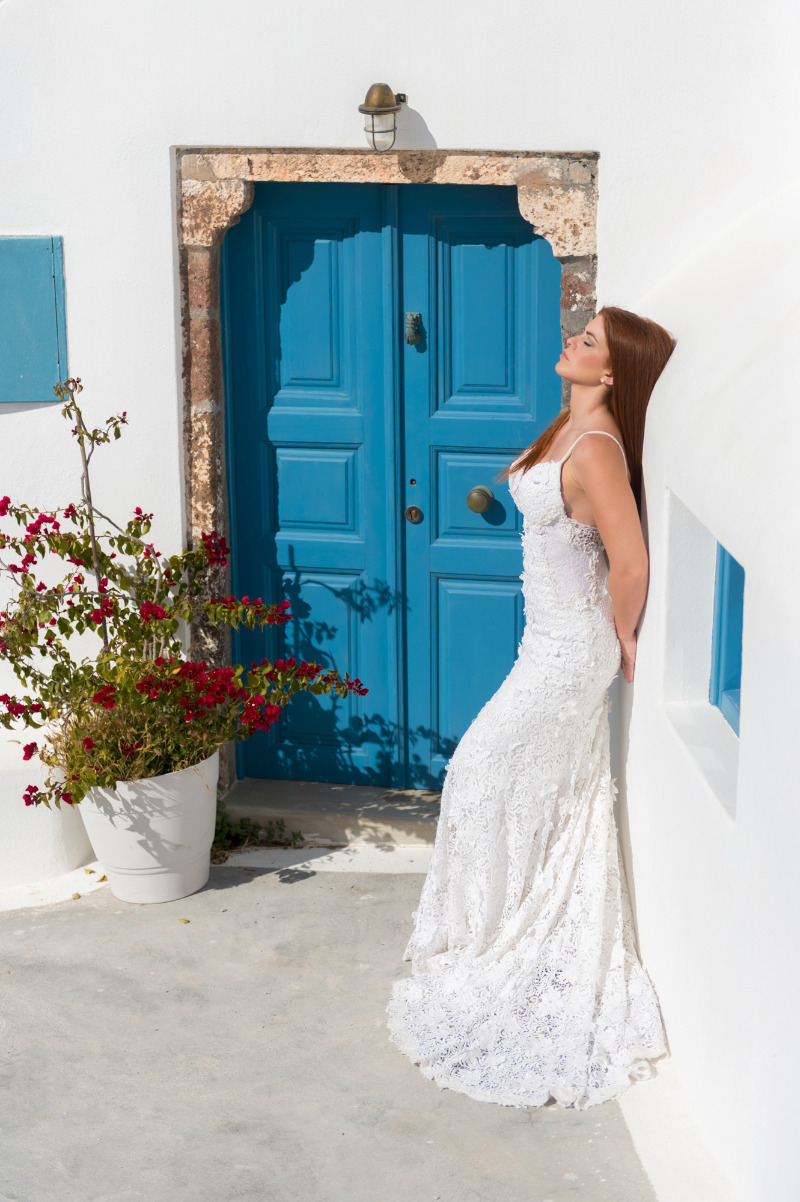 Bridal portrait from breathtaking after wedding session at Emporio, Santorini