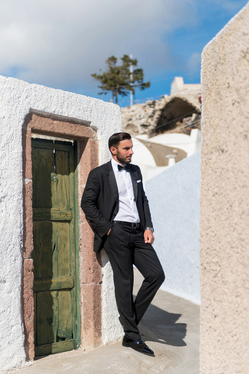 Groom's style from breathtaking after wedding session at Emporio, Santorini.