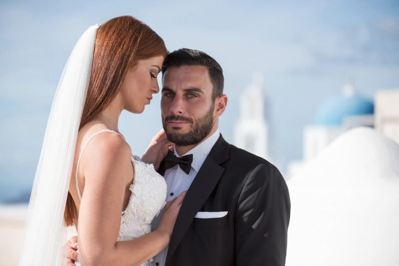 Couple portrait from breathtaking after wedding session at Emporio, Santorini.