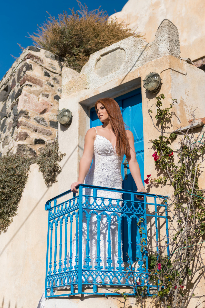 Bridal portrait from breathtaking after wedding session at Emporio, Santorini.