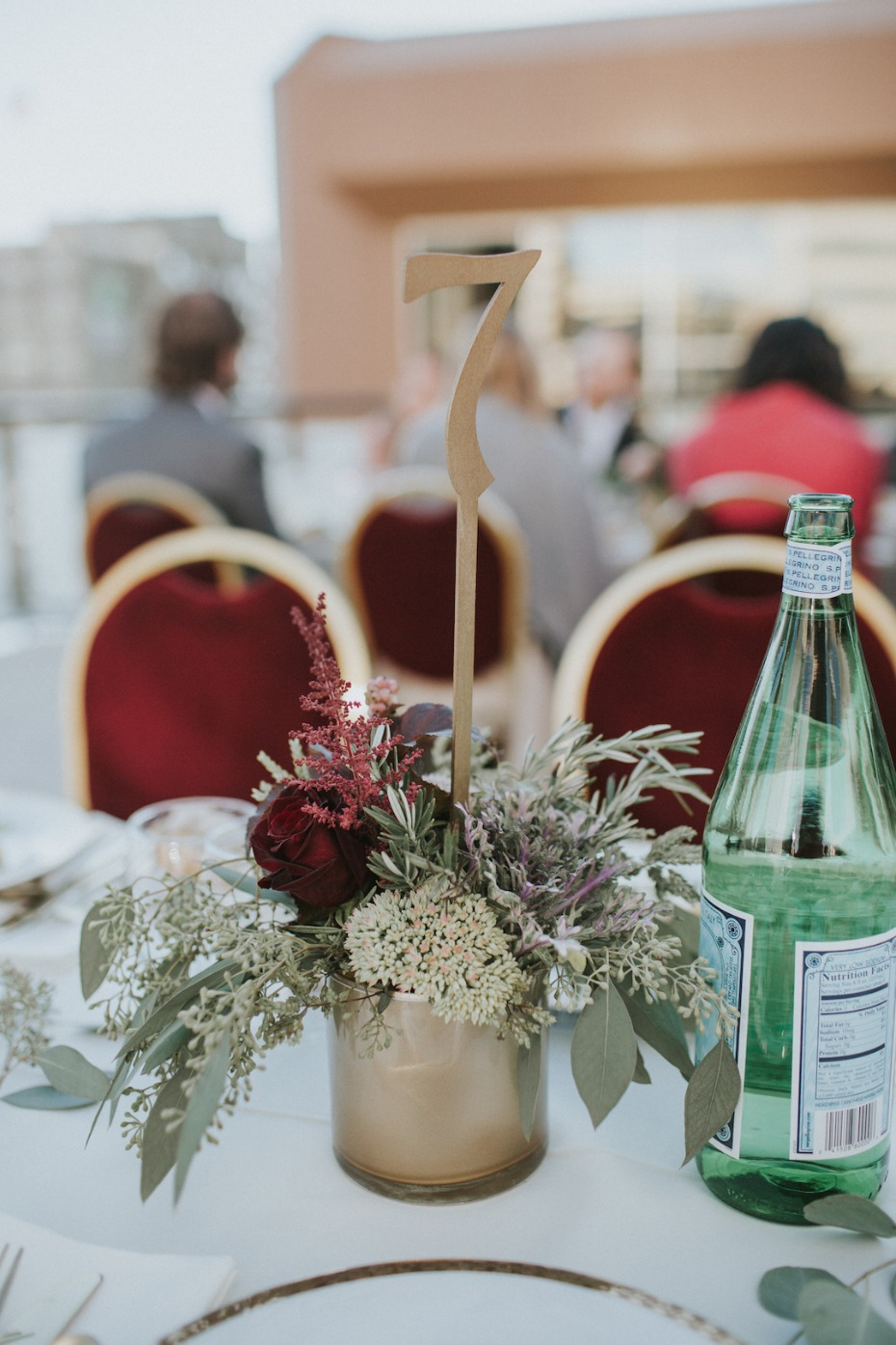 flower arrangement and table number