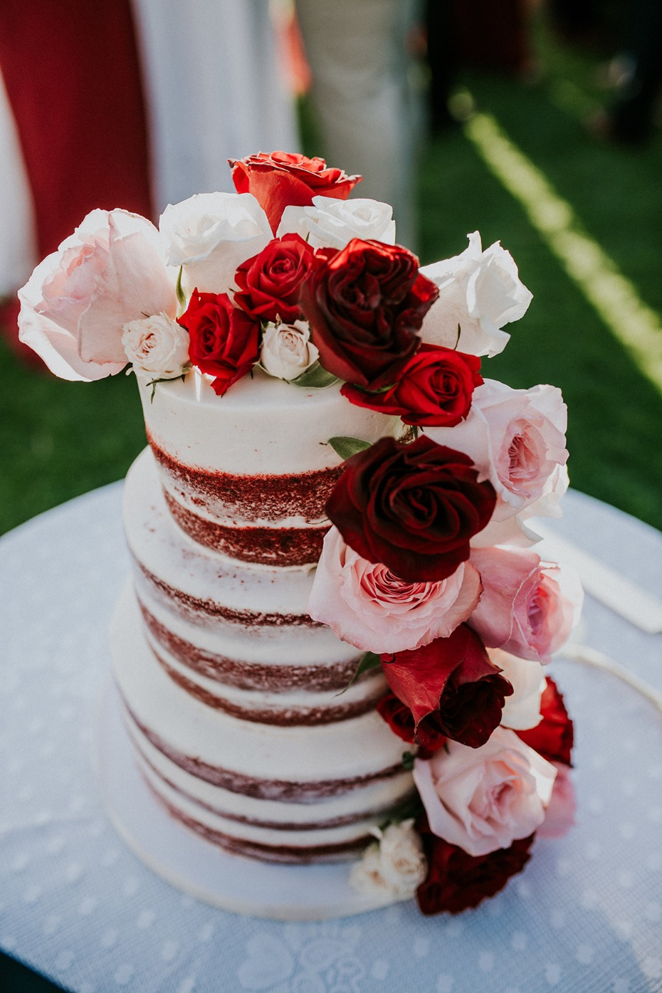 Red velvet naked cake with roses