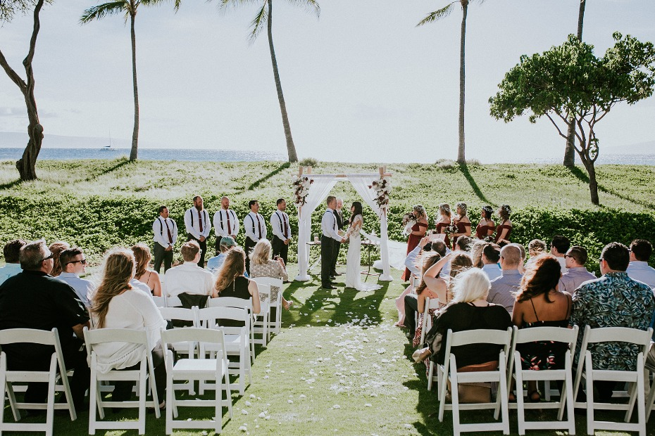 Outdoor ceremony in Maui