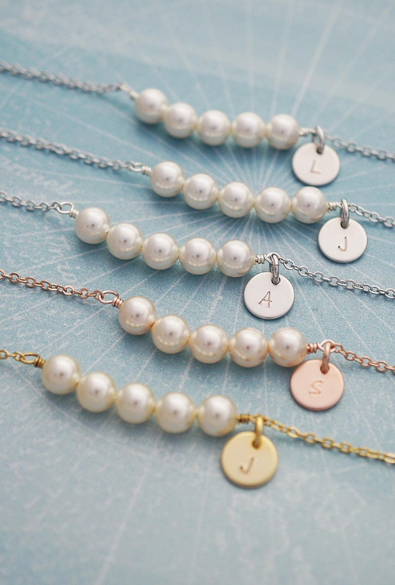 Elegant Pearl Bracelets made of Swarovski pearls and hand stamped initial discs. Great gift for Bridesmaids, Mother of the bride and