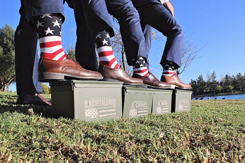 Fun gifts for the Groomsmen! Ammo Cans engraved with their names... useful gifts they will LOVE + cool wedding photo opportunity!