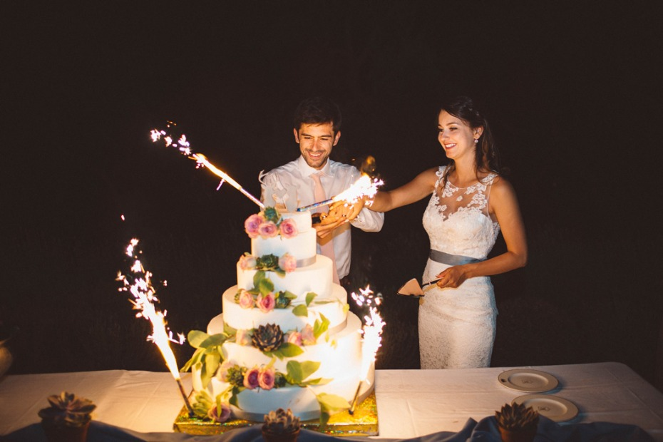Sparkler wedding cake