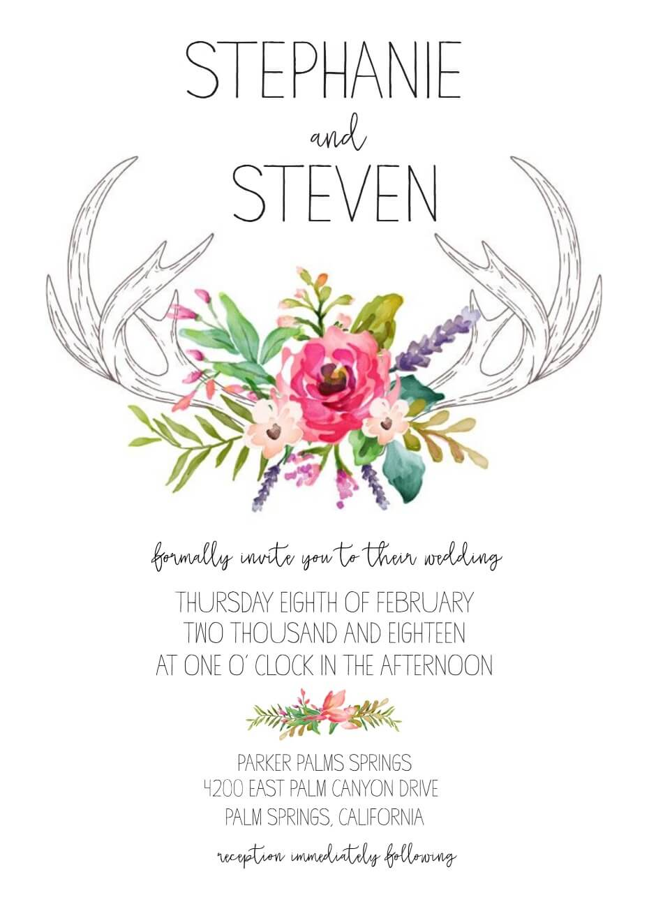 Wedding Invitation Generator Antler Wedding Invites