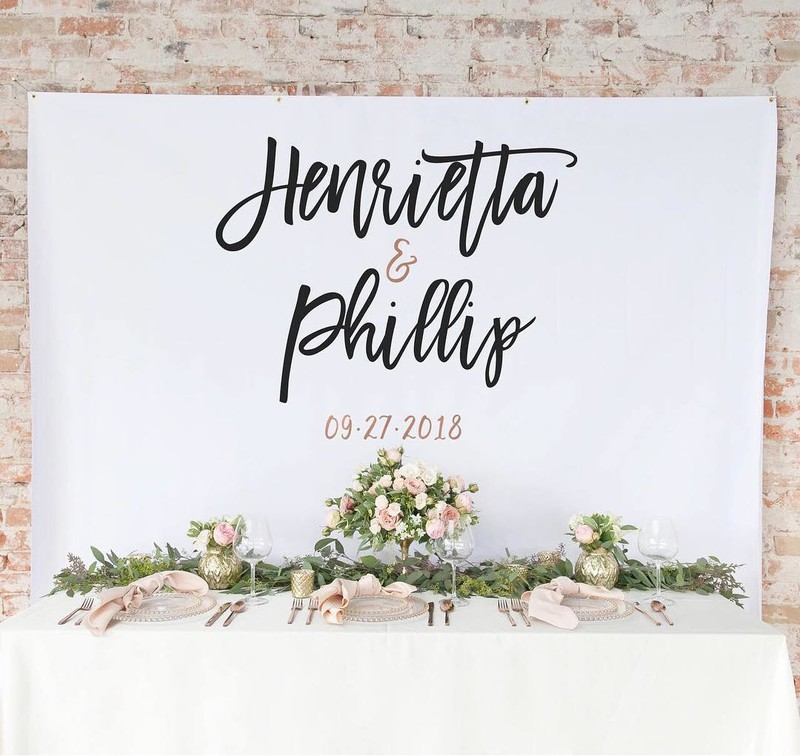 Our custom backdrops are an easy and elegant way to add personalization and a special touch to any wedding or event, or for a photo