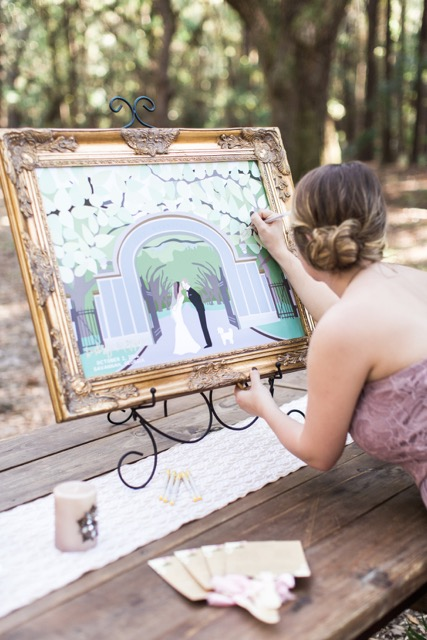 Custom guest book alternative featuring a personalized Savannah, GA themed backdrop and a portrait of the couple!