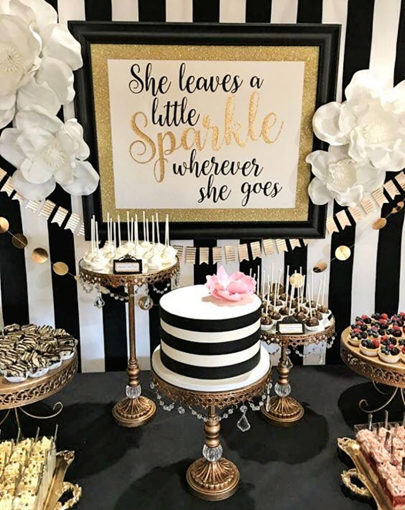 Kate Spade Inspired Bridal Shower Sparkle Dreams with Gold Chandelier Cake Stands created by Opulent Treasures
