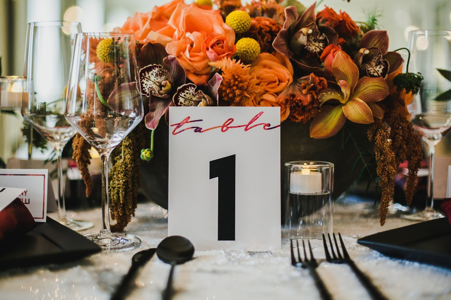 Black, orange and white table decor