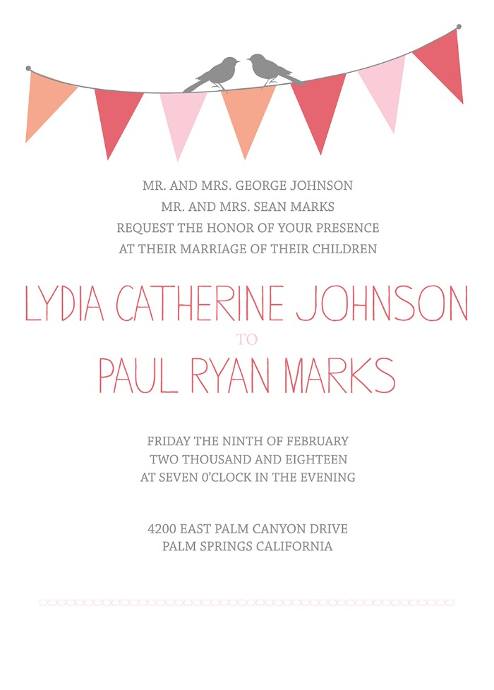 Bunting Free Printable Wedding Invitation Suite