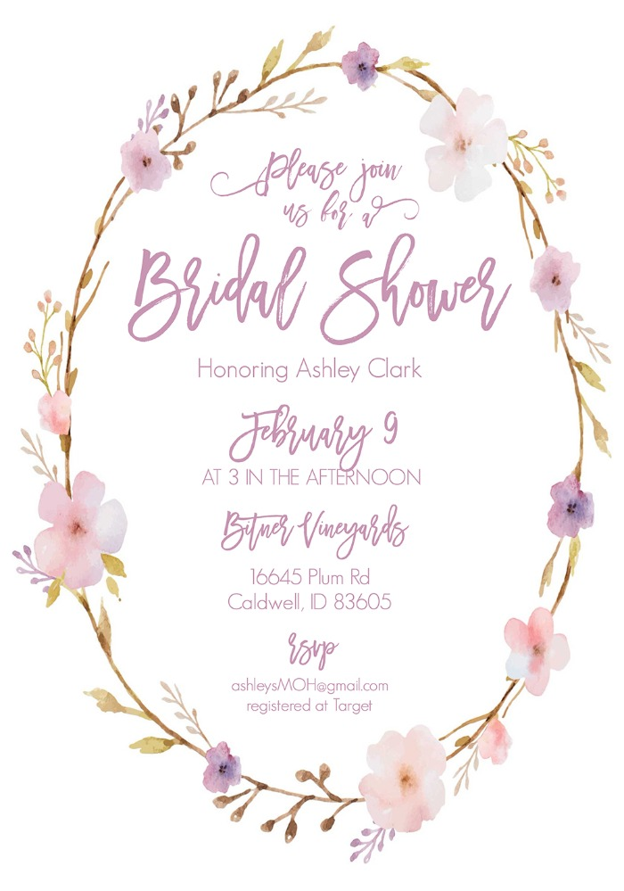 floral wreath free printable bridal shower invitations