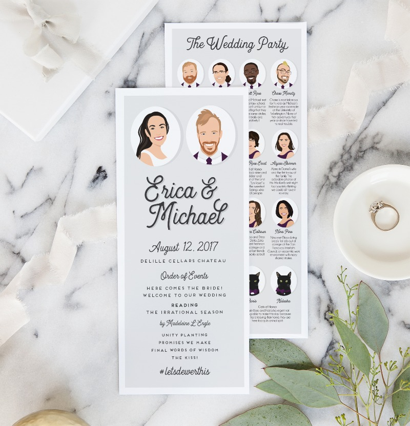 Guests will literally be fighting over these at your wedding (it's happened). Wedding programs that feature the WHOLE crew from Miss