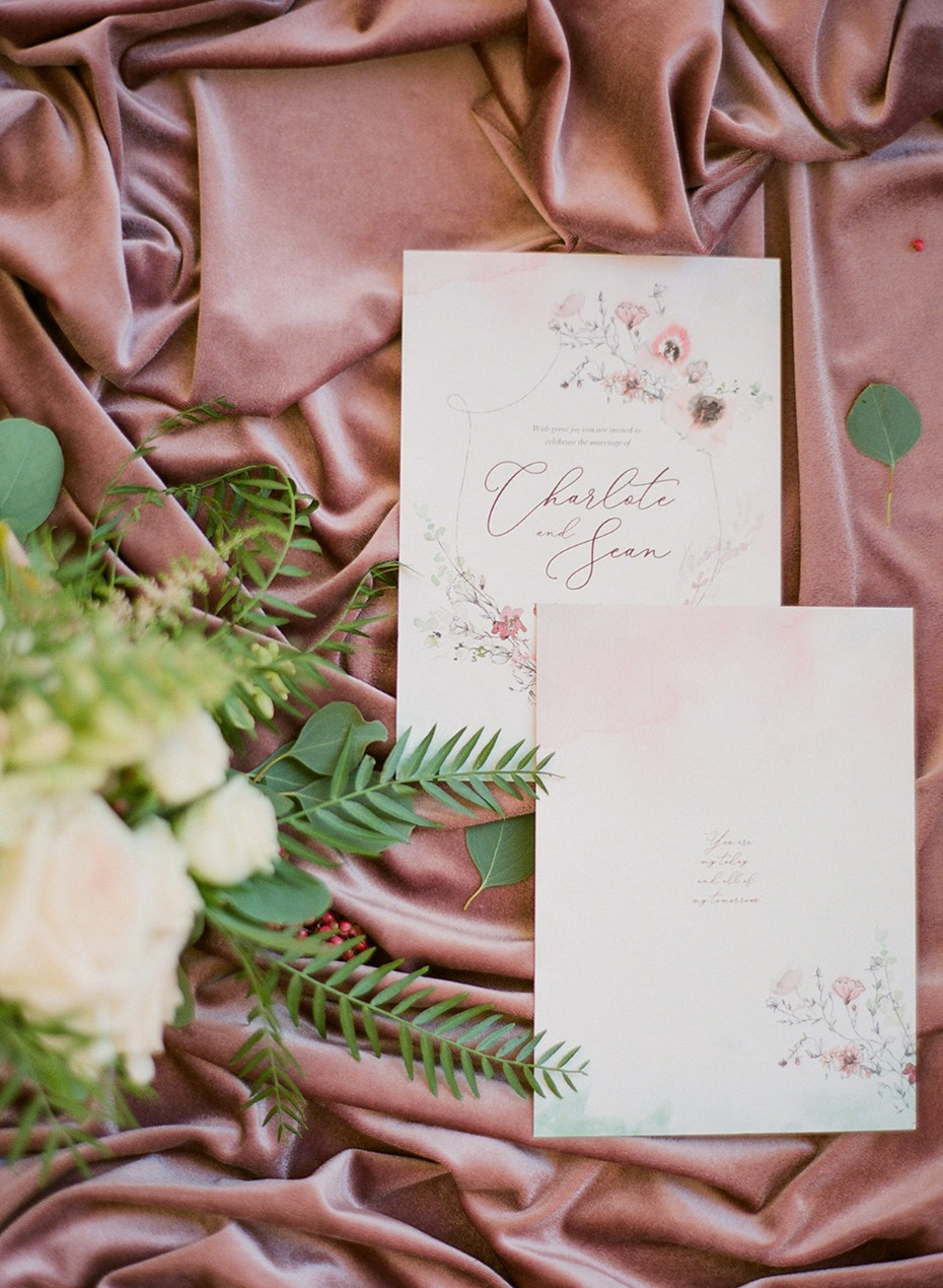 soft blush and light green water color wedding stationery
