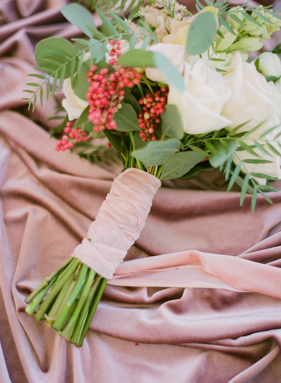 soft pink ribbon wrapped wedding bouquet