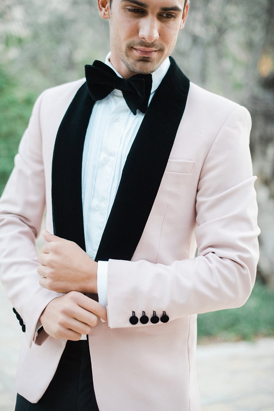 velvet lapel and baby pink suit jacket