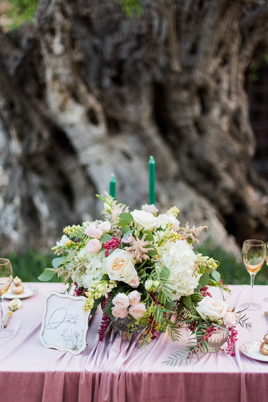 wedding centerpiece idea for your soft pink and emerald green decor