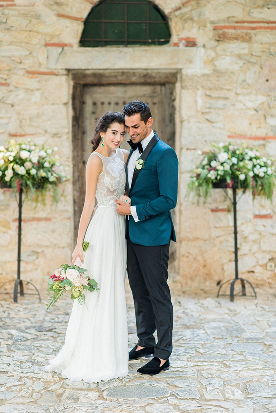 emerald green grooms jacket for this late fall wedding