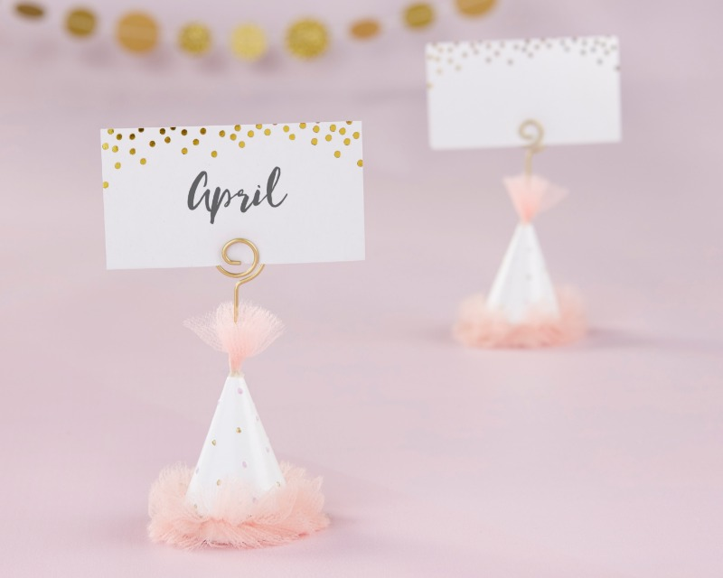 Get into the party mood before your big bachelorette night out with a set of 6 Kate Aspen Pink Party Hat Place Card Holders! Not only