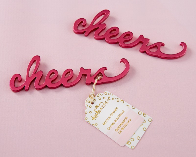 Say cheers to a new marriage, new baby or new engagement with Kate Aspen's Cheers Pink Bottle Opener. The bottle opener is great