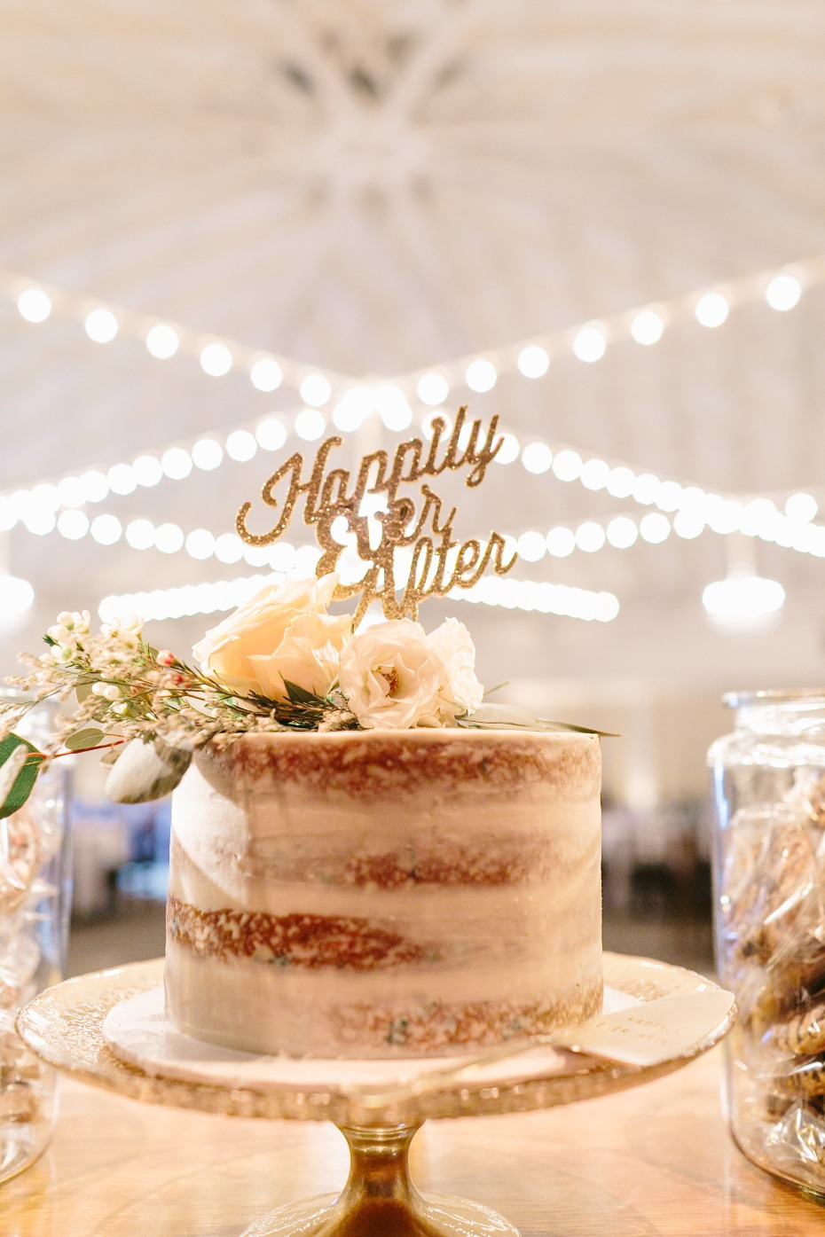 Naked cake with loose florals