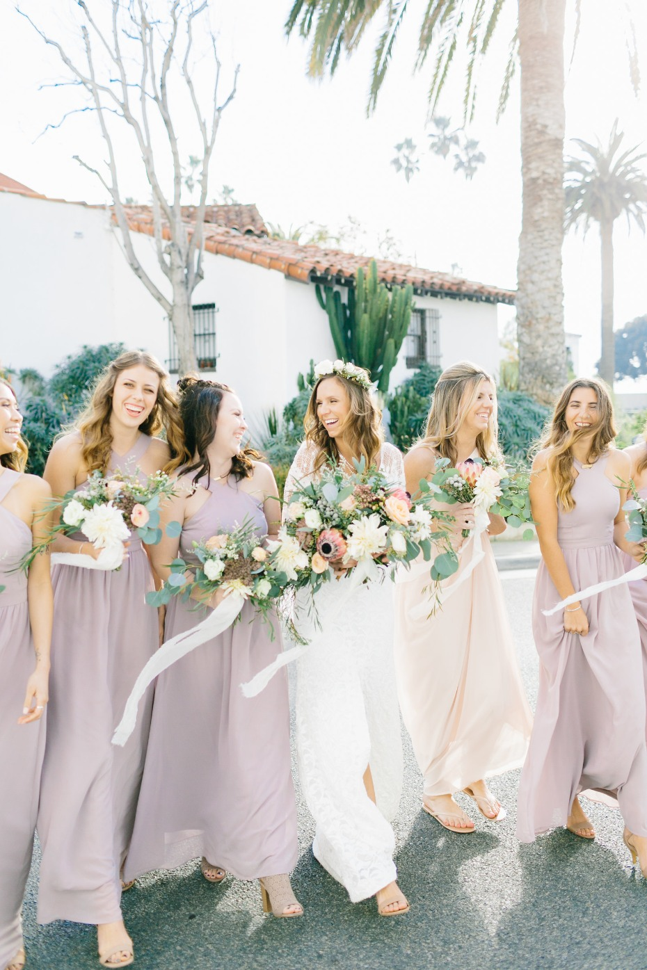 Bridesmaids in dusty blush