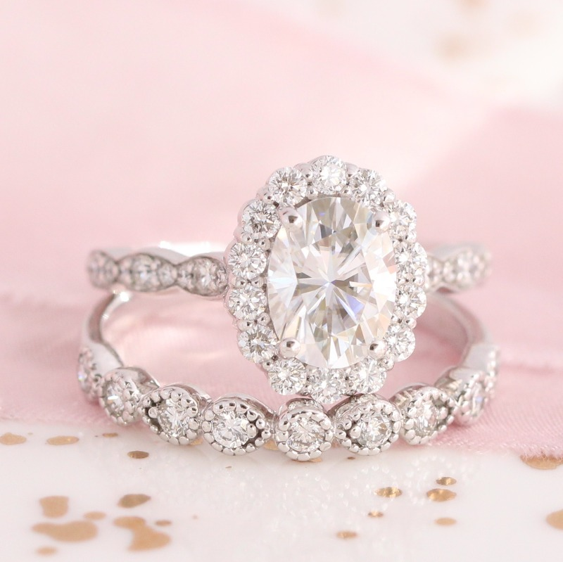 Heavenly halo moissanite bridal set, featuring scalloped diamond band and milgrain diamond wedding band from La More Design ~