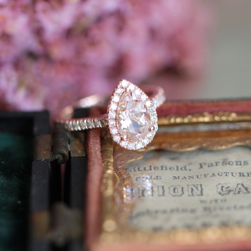 A drop of morganite surrounded by a halo of diamonds for your loved one to know how much they mean to you ~ By La More Design