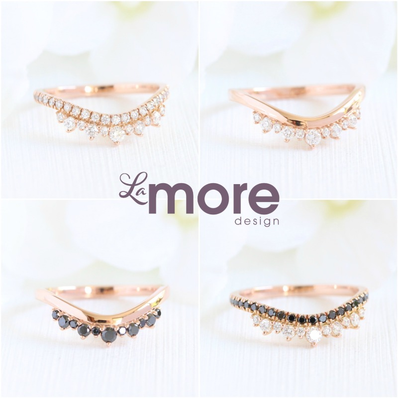 La More Design has a unique and new collection of diamond wedding bands-- curved! Shop our curved wedding bands now, including these