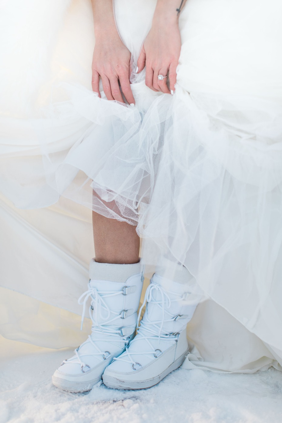 cute snow boots to wear at your white wedding