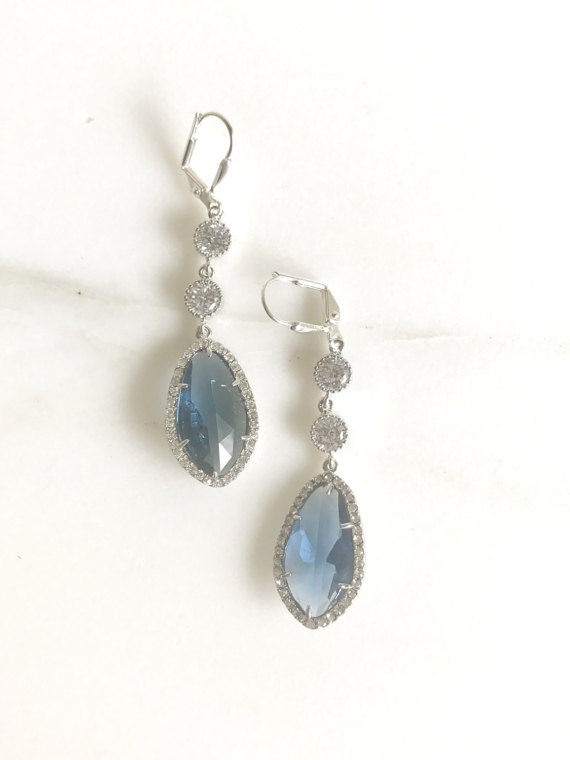 Bridal Statement Earrings with Sapphire Blue and Clear Crystals in Silver. Long Bridal Crystal Earrings. Wedding Jewelry. Bridal Earrings