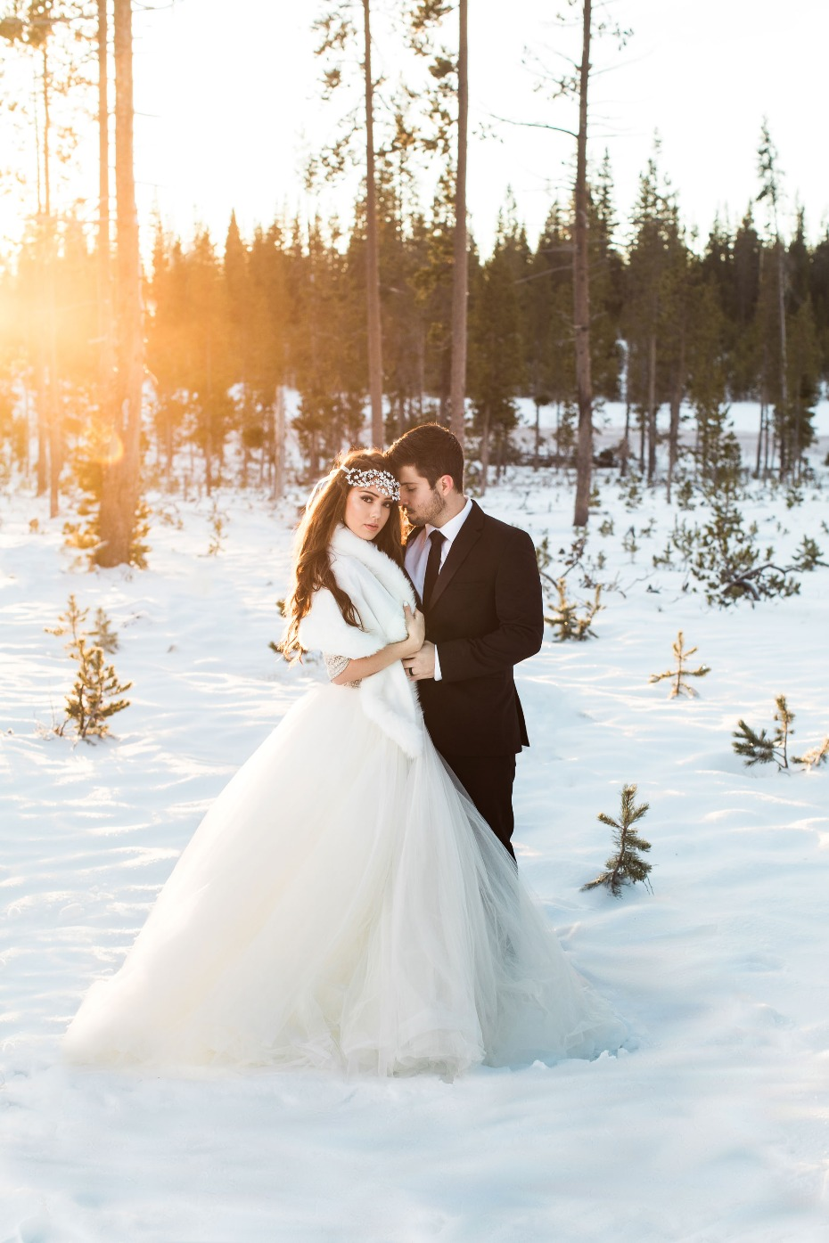 Glam winter wedding ideas. #snowywedding #maggiesottero
