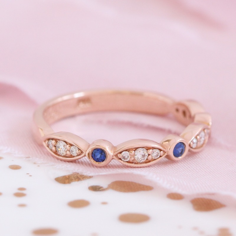 A beautiful mix of sapphires and diamonds in a bezel scalloped wedding band ~