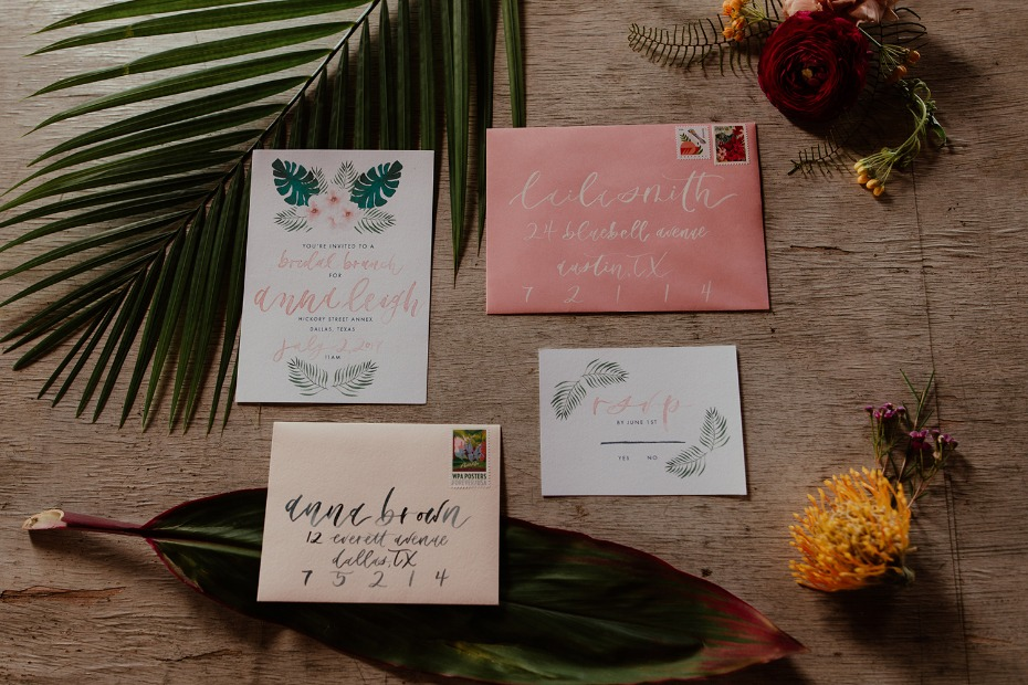 Tropical bridal brunch invite