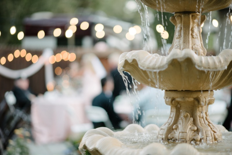 The festive setting of Barry and Zarife's wedding day took on an Impressionistic feel in this shot, with their color them of blush