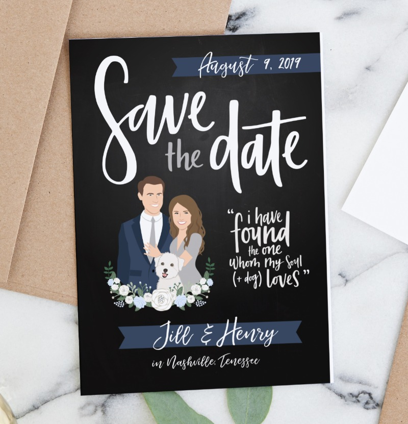 If you don't have a dog, but rather a fur baby, this save the date card is definitely perfect for you. This chalkboard design features