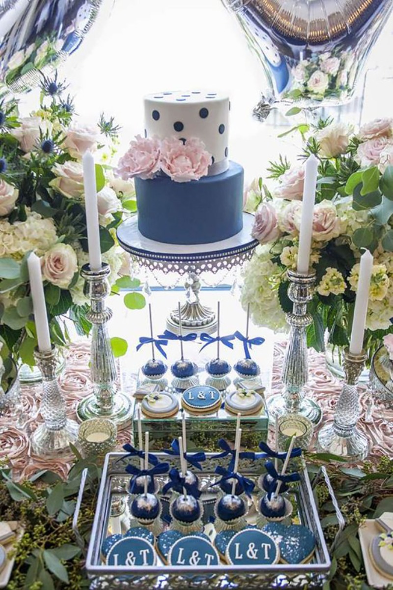Navy & Blush Wedding Shower Details with Antique Silver Accents!