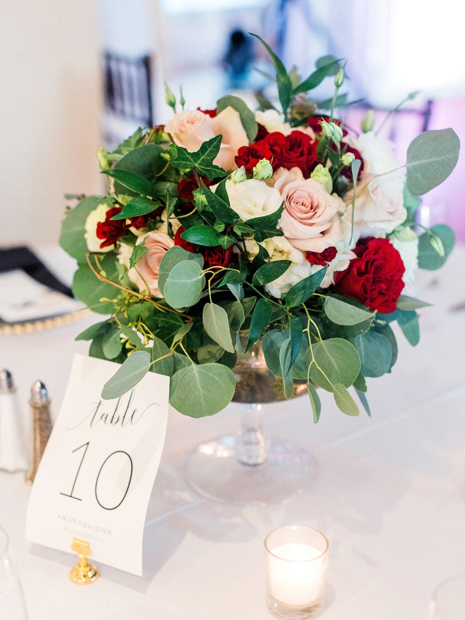 Blush and red centerpiece